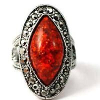 Tibetan Silver Garnet Eye Gems Diamante Zircon Cocktail Ring-NEW
