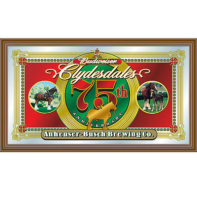Budweiser Clydesdale 75th Anniversary Wood Frame Bar Wall Mirror