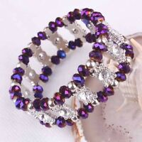 Purple Crystal Faceted Beads Stretch Bracelet Bangle---NEW!!!