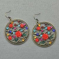 Crystal Dangle Retro Copper Floral Earrings--NEW!!!