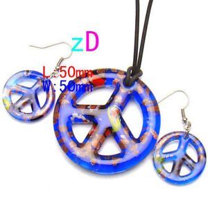 Peace Sign Blue Lampwork Glass Necklace and Earrings-NEW!