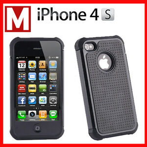 DUAL LAYER HEAVY DUTY TOUGH TRADESMAN CASE COVER FOR APPLE IPHONE 4S 4 BLACK