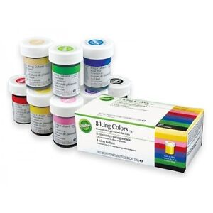 Wilton Icing Colour Gel Paste. For Cake & Cupcake Decorating. Set of 8 Colours