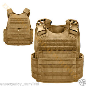 MOLLE-Modular-Tactical-Body-SAPI-PLATE-CARRIER-Armor-Vest-COYOTE-TAN