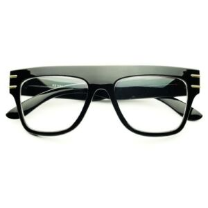 retro inspired clear lens thick framed square flat top eye