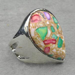 Huge Tibet Silver Nature Malachite #6.5 Ring--NEW!!