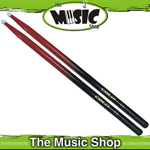 DXP Red & Black 5A Drumsticks with Nylon Tip - Black Drum Stick with Red Tip New