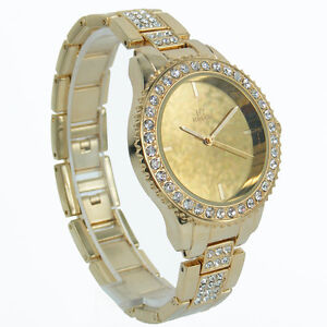 Prince NY London jewel bezel strap mirrored face metal ladies watch mirror