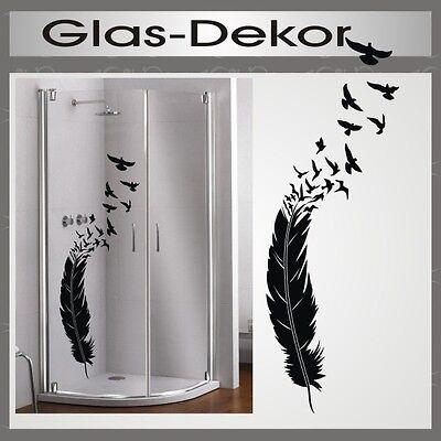 glas dekor aufkleber fenster dusche bad tattoo feder v gel vogel glasdekor 49 ebay. Black Bedroom Furniture Sets. Home Design Ideas