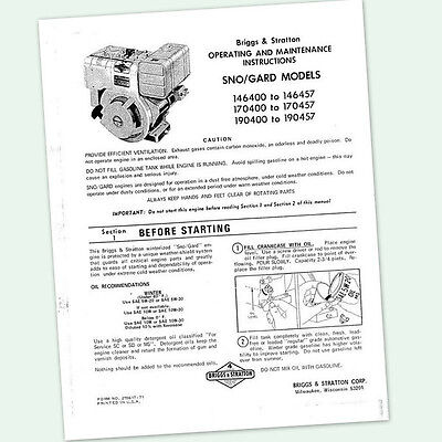 BRIGGS AND STRATTON 8hp ENGINE 190400 to 190457 OPERATING MANUAL OPERATORS