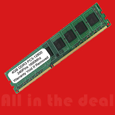 4GB DDR3 PC3-12800 1600 MHz 4G DESKTOP MEMORY 240 PIN Non-ECC RAM CL 11 NEW