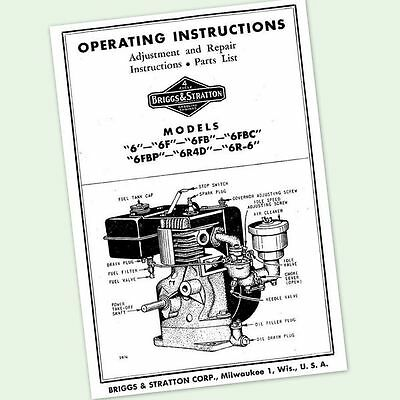 BRIGGS AND STRATTON 6FB ENGINE OPERATORS REPAIR PARTS MANUAL SERVICE OWNERS & BS