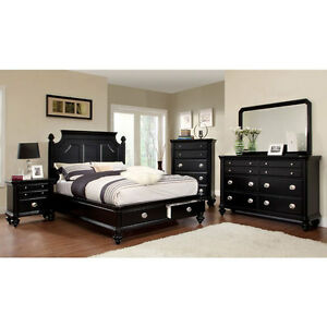 solid wood new york black finish 6 piece bedroom set ebay