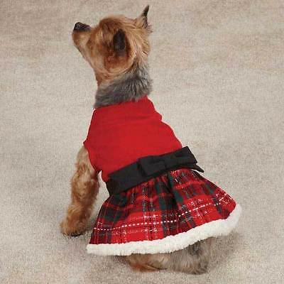 Yuletide Tartan Christmas Party Dog Dress Holiday Pet Outfit With Bow All Sizes