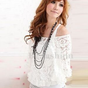 White 2-Piece Lace Tops Ladies Off Shoulder T-Shirt Size 6-12 Women's Blouse