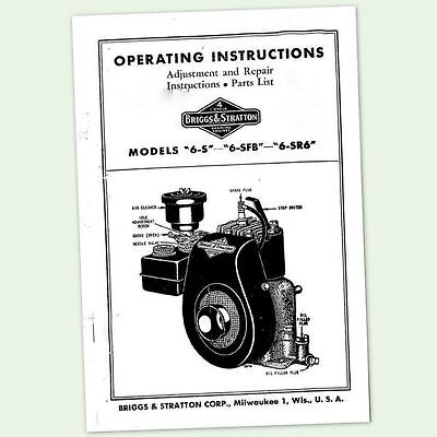 BRIGGS AND STRATTON 6-S ENGINE OPERATORS REPAIR PARTS SERVICE OWNERS MANUAL & BS