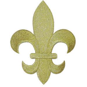 Iron On Appliques Giant Fleur De Lys Lis Metallic Gold