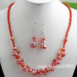 Red Crystal Faceted Beads Gem Necklace Earrings Bracelet Set-NEW