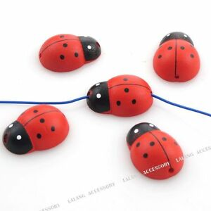 60x-Red-Ladybird-Charms-Wooden-Bead-Spacer-28mm-160178
