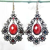 Red Resin Oval Crystal Flower Dangle Chandelier Hook Earring-NEW