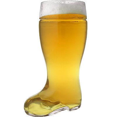 Oktoberfest Style Glass Beer Boot Stein - 2 Liter Beerfest Glassware Boots