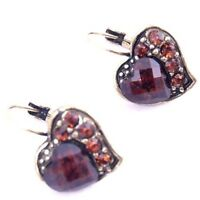 Vintage&Antique Crystal Resin Heart Shape Studs Earrings-NEW!