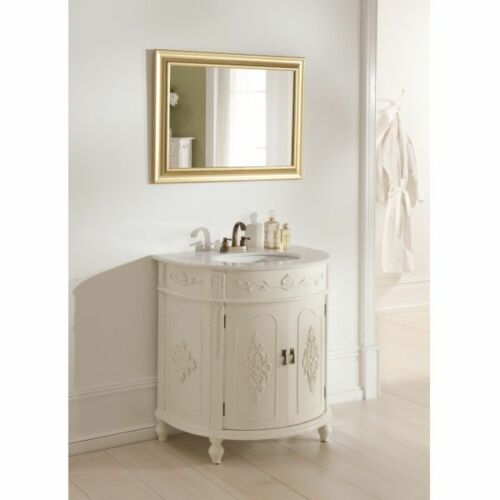French Chateau Antique White Finish Half Moon Marble Top Sink Vanity Unit Ebay