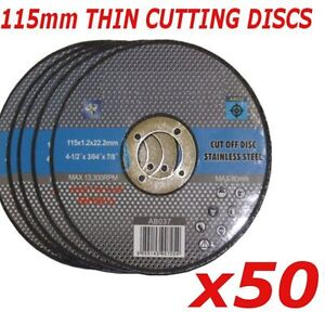 50x 115mm Ultra thin metal cutting discs 4.5