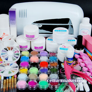9W-UV-white-dryer-lamp-24-color-Acrylic-Powder-Nail-Art-Kit-gel-tools-Set-303