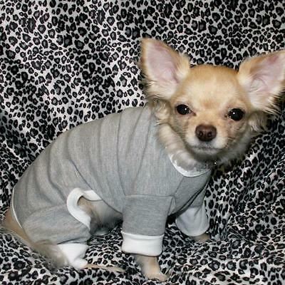 NEW DOG pet clothes PJ'S PAJAMAS GRAY COTTON SM White Trim grey on Rummage