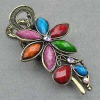 Vintage Copper Swarovski Crystal CZ Hair Clip-flower---NEW!!