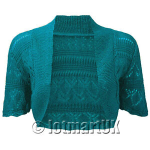Ladies Bolero Shrug Crochet Knitted Cardigan Womens Top