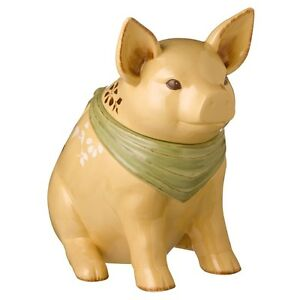Grasslands Road-Ceramic Floral Pig Cookie Jar with Bandanna-NEW