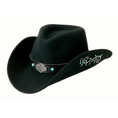 Harley Davidson Crushable Water Resistant Cowboy Hat - Turquoise Colored Inlays