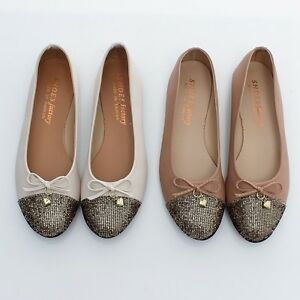 BN-Womens-Ballet-FLATS-BOWED-BALLERINAS-Casual-Work-Shoes-Bling-Bling-5-Colours