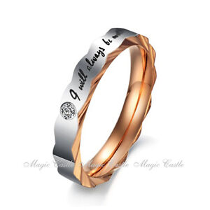 Women Men Titanium Stainless Steel Engagement Wedding Promise Love Band Ring