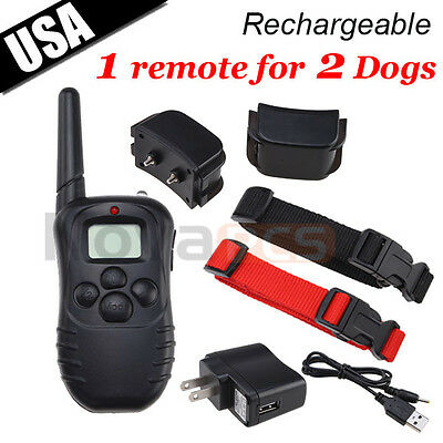New Rechargeable 100LV Shock Vibra Remote Dog Training Collar LCD for 2 dogs on Rummage