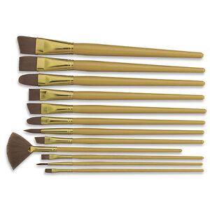 Royal soft brown taklon artist paint brush set 12 pcs ebay for Wholesale craft paint brushes