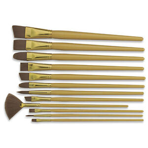 ROYAL SOFT BROWN TAKLON ARTIST PAINT BRUSH SET 12 pcs