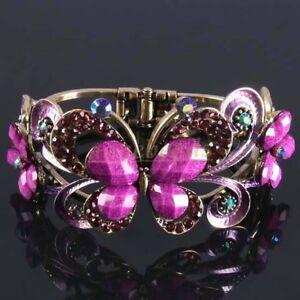 Purple Resin Crystal Butterfly Flower Bronze Cuff Bracelet-NEW