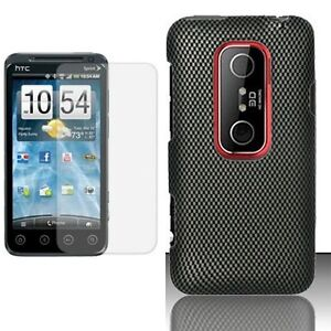 For HTC EVO V 4G-Carbon Fiber Hard Phone Case Cover+CLE LCD Protector Shield
