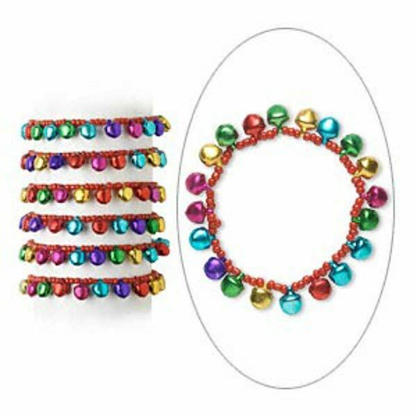 Jingle Bell Bracelets Stretch Christmas Holiday Jewelry Lot Of 6