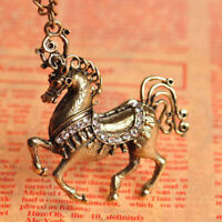 Antique Copper Vintage Horse White Crystal Necklace&Pendant--NEW