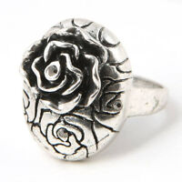 FLOWER SILVER PLT CHARM RING JEWELRY SZ 6.5---NEW!!