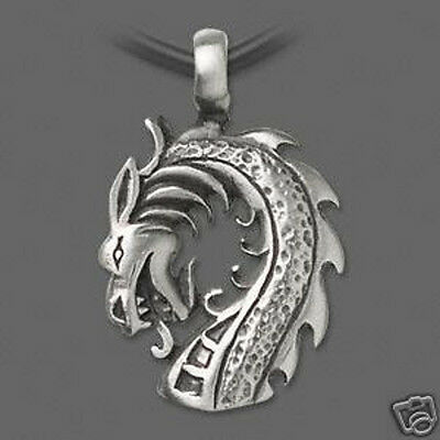 """Dragon Necklace Pewter Pendant 18"""" Black Leather Cord Jewelry"""