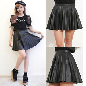 Celebrity-Faux-Leather-Pleated-Mini-Skirt-Side-Zip-Flare-A-Line-Vintage-Skater