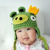 Green Pig Angry Birds Hat - Crochet newborn infant baby