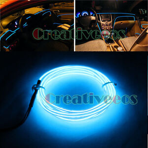 5m blue diy car charge glow interior led el wire rope tupe light line drive ebay. Black Bedroom Furniture Sets. Home Design Ideas
