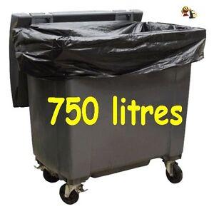 sac poubelle poubelle housse pour conteneur 750 l carton de 50 sacs ebay. Black Bedroom Furniture Sets. Home Design Ideas