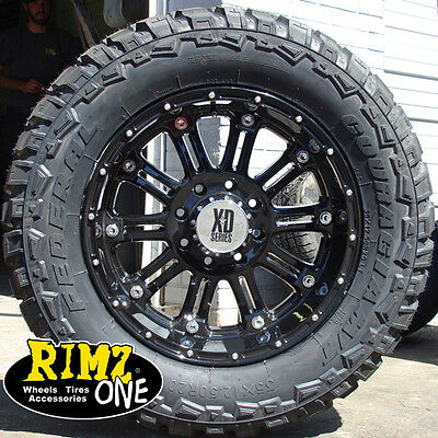 "20"" XD HOSS Wheels Black 35x12.50-20 Federal MT 35"" tires Ford Chevy Dodge Jeep"